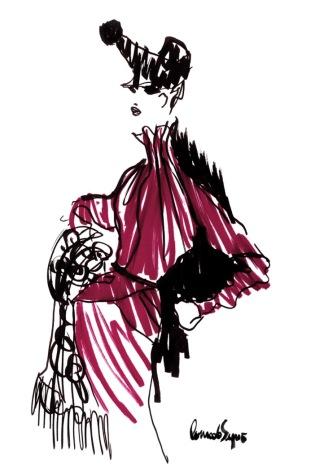 Desenho feito à mão pelo estilista Conrado Segreto